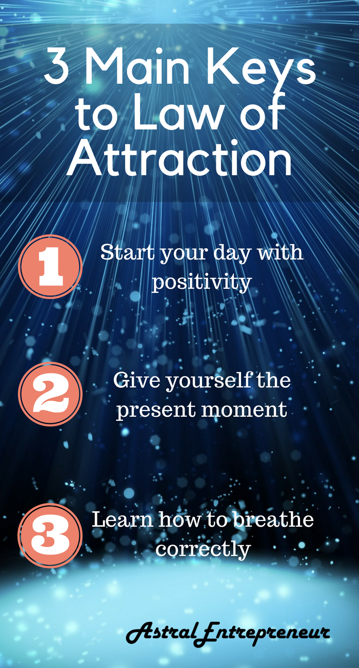 3 Main Keys To Law Of Attraction 1 Start Your Day With Positivity 2 Give Yourself The Present Moment 3 Learn Ho Law Of Attraction Manifestation Attraction