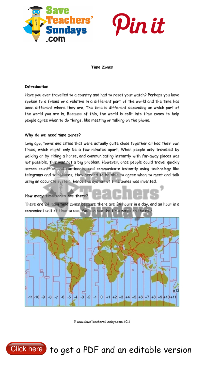 Worksheets Time Zones Worksheets time zones information text go to httpwww saveteacherssundays year 5 lesson worksheets plans and other primary teaching resources