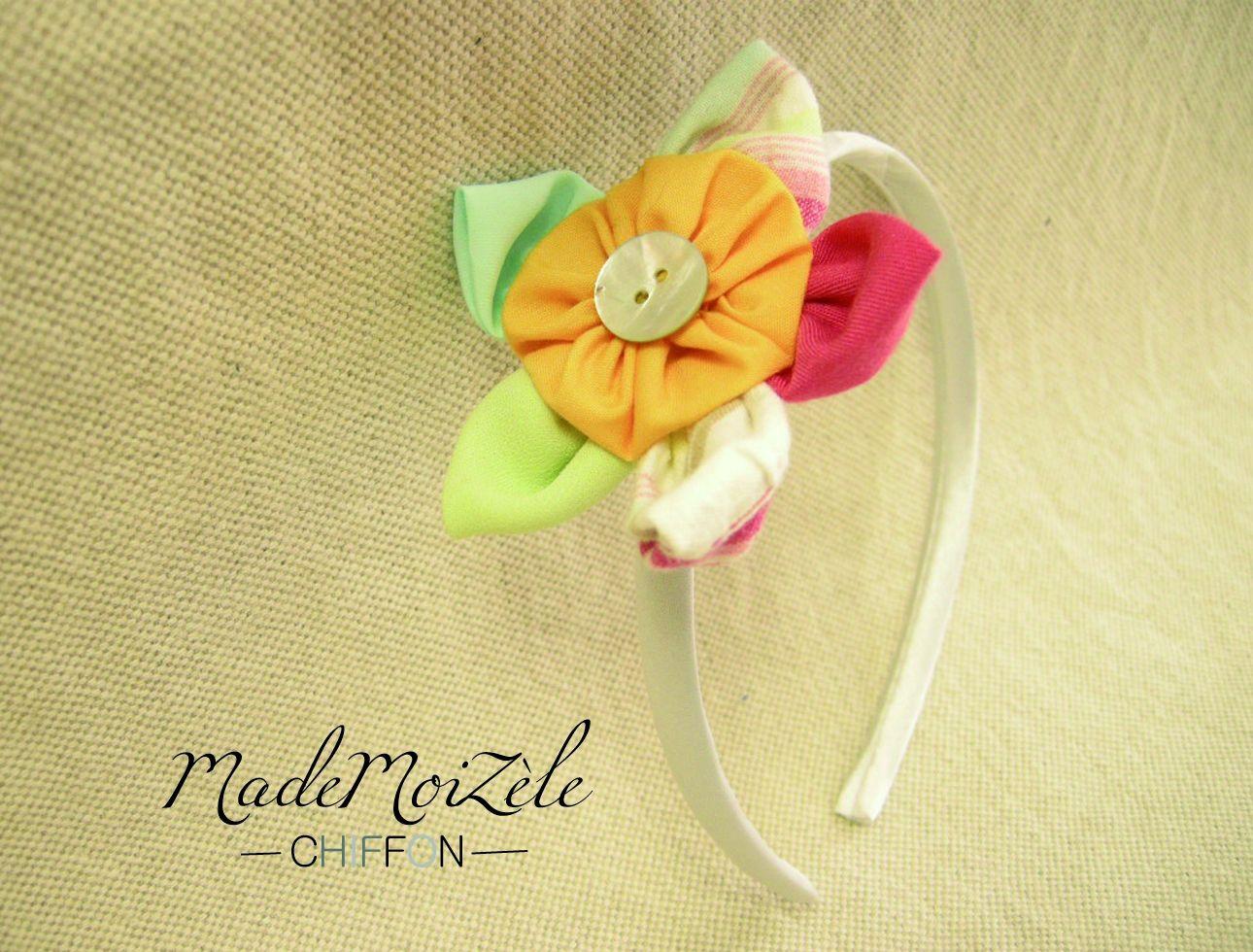 serre tête tissu fleur multicolore Accessoires fille par