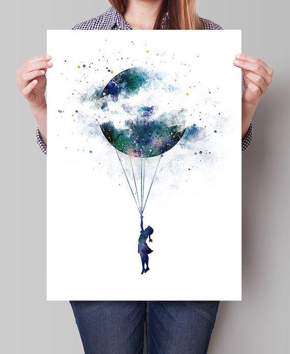 Lune Aquarelle Art Mural Paysage Art Jet D Encre Grande Impression