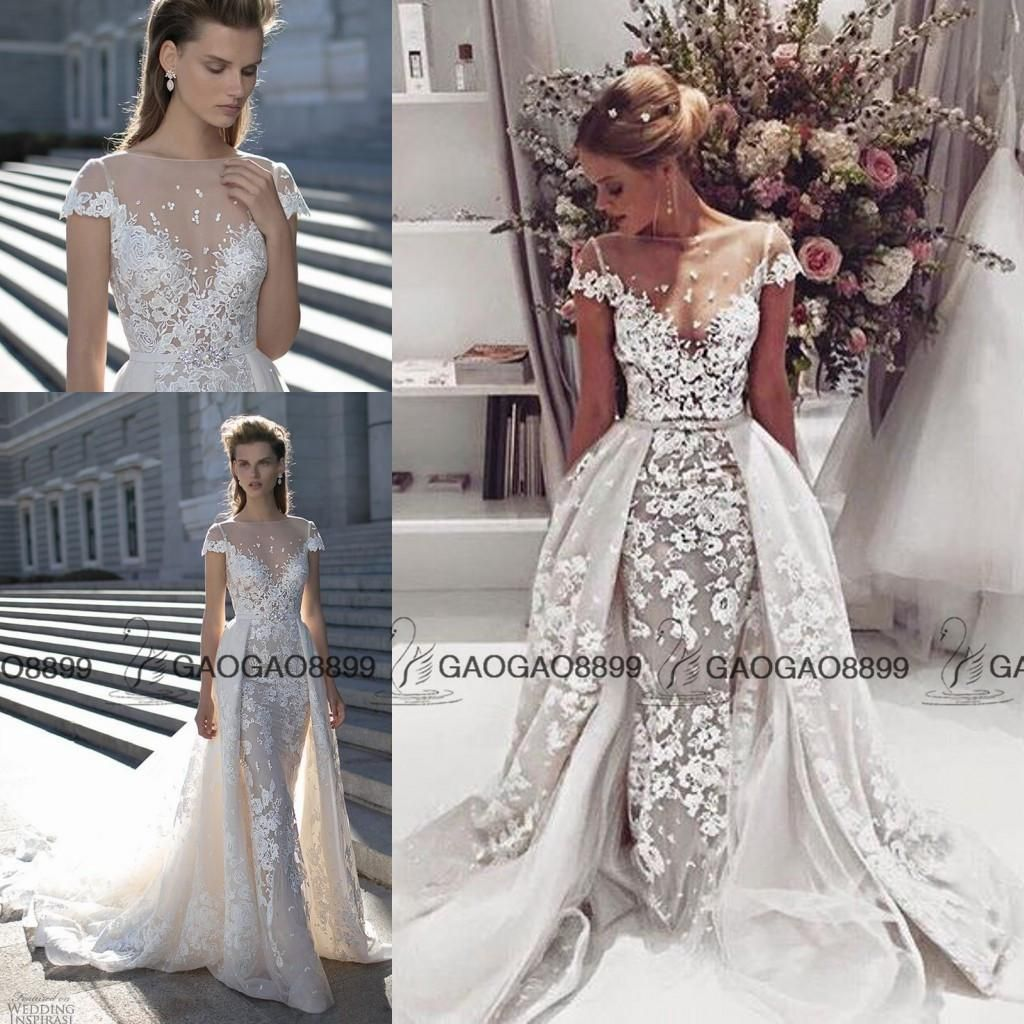 Gorgeous cap sleeve lace wedding dresses with detachable for Wedding dress removable skirt
