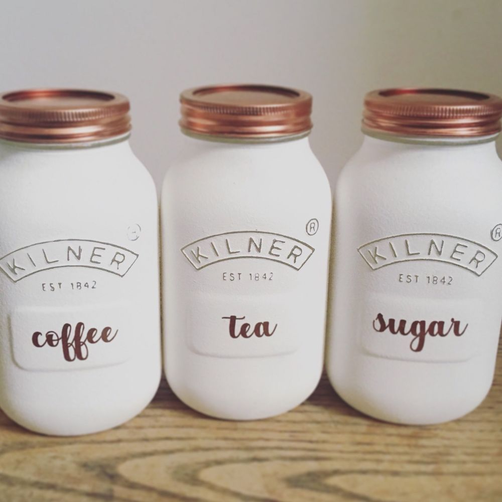 White And Copper Kitchen X 3 Tea Coffee Sugar Canisters Rose Gold