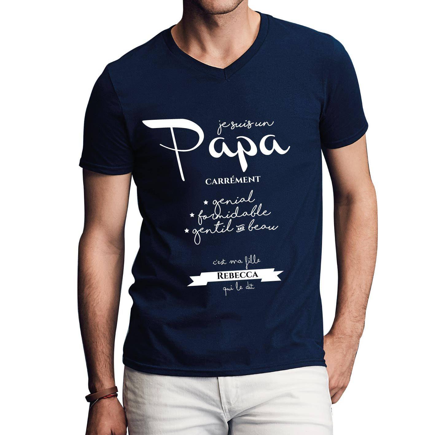 635e5841b25f2 T shirt à personnaliser papa avec votre prénom - Cadeau fête des pères -  Idée cadeau