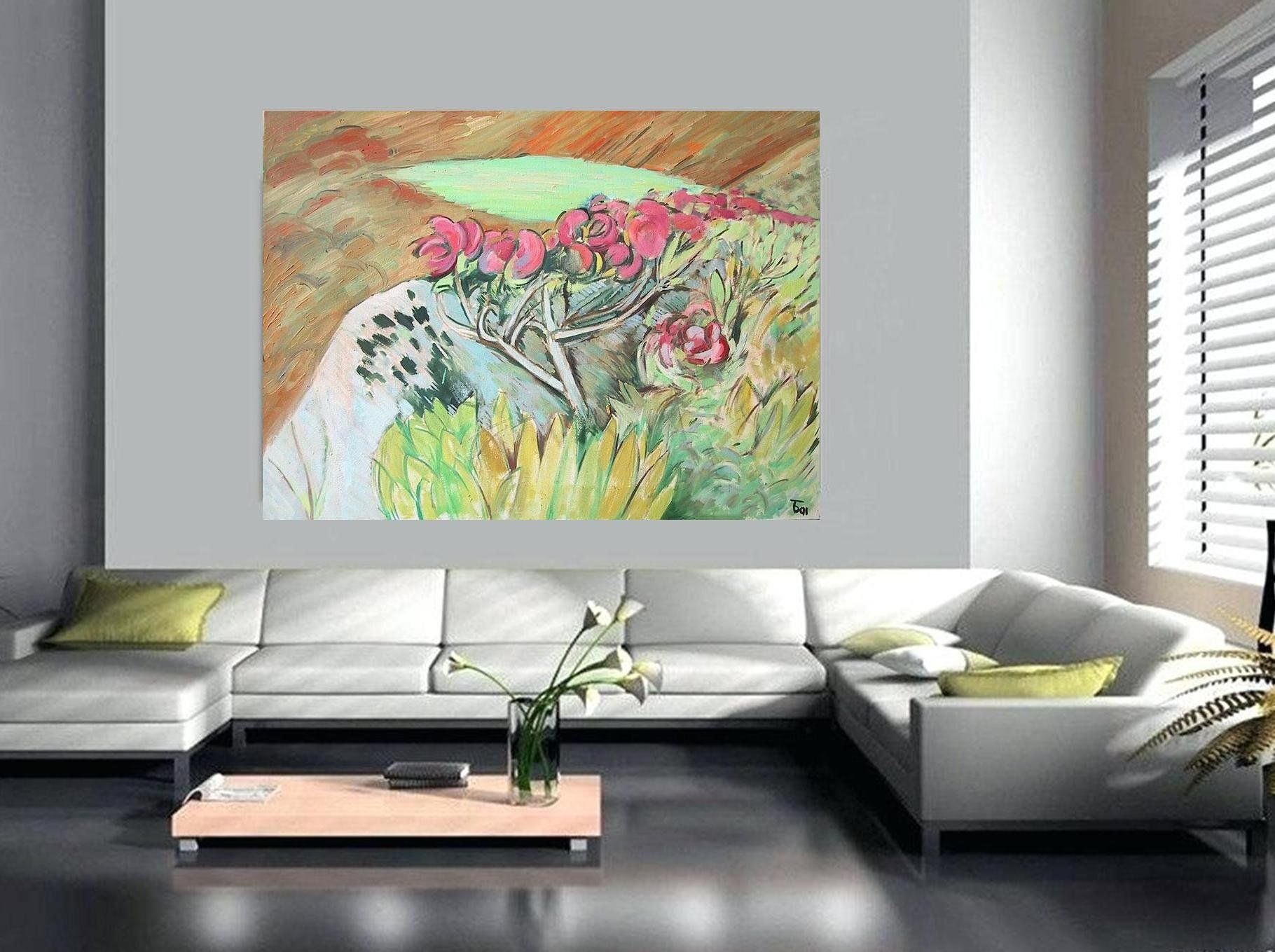 Extra large long horizontal wall artyellow green wall decor art