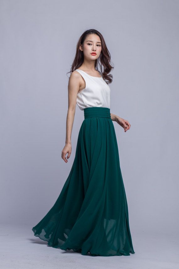 8a2bb4dd54 ◇Description: This chiffon maxi skirt comes with full length ,pleated fixed  waist,big sweep,made according to your waist ,special and pretty for