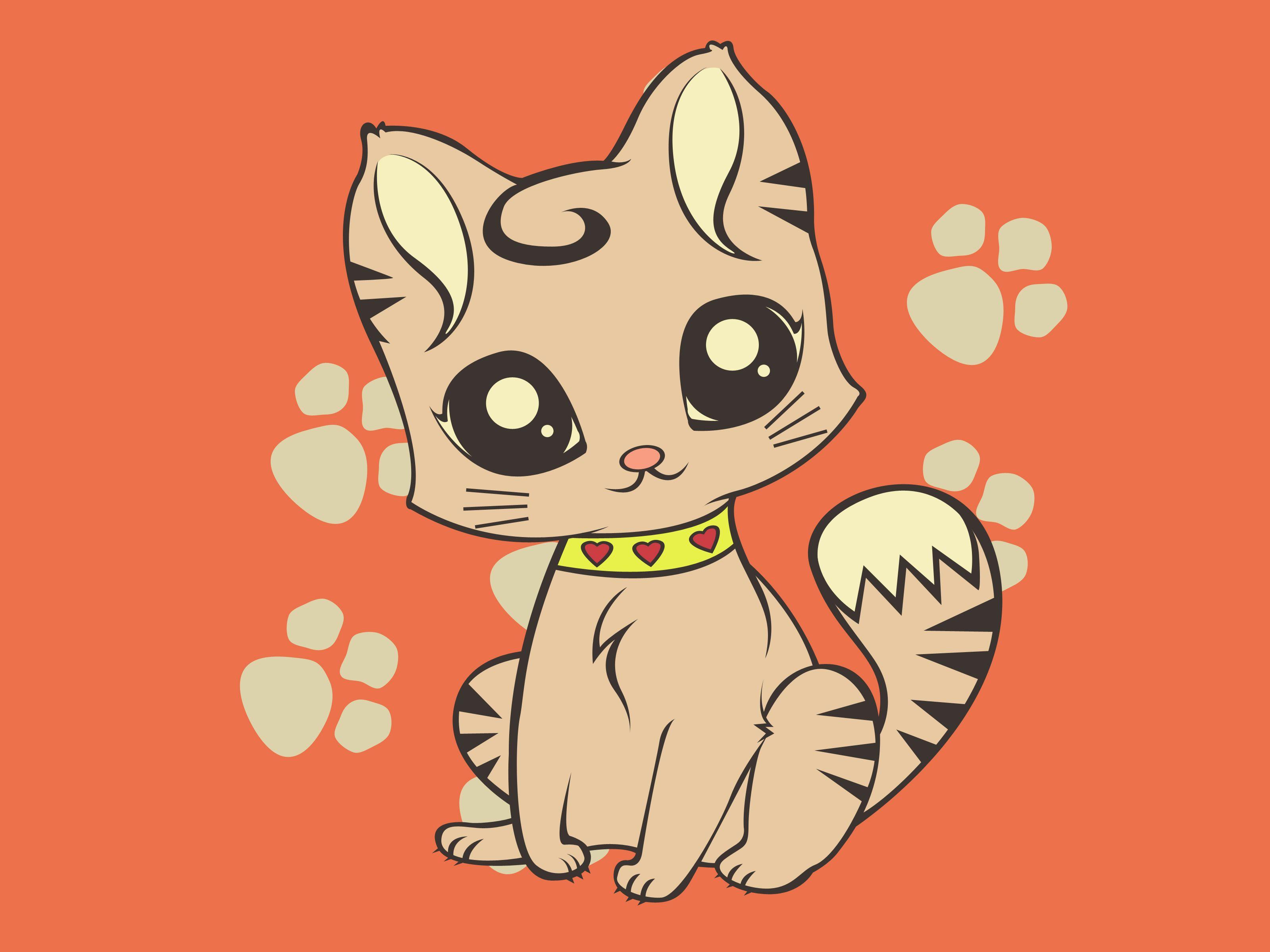 How To Draw A Cute Cartoon Cat Kitten Drawing Cartoon Cat Chibi Cat