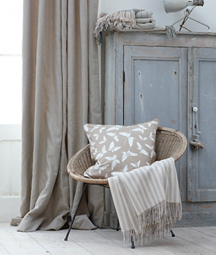Rideau long taupe