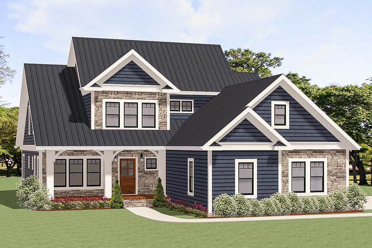 Plan 46319la Traditional House Plan With Two Story Family
