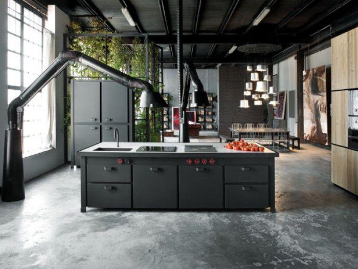 Stoere Industriele Loft : Stoere industriele keuken mat zwart places spaces