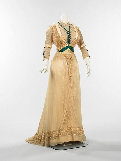 Unknown dress front - late 1800's? I love the green and cream combo!