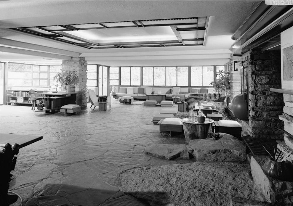 Falling Water, by Frank Lloyd Wright living room, from