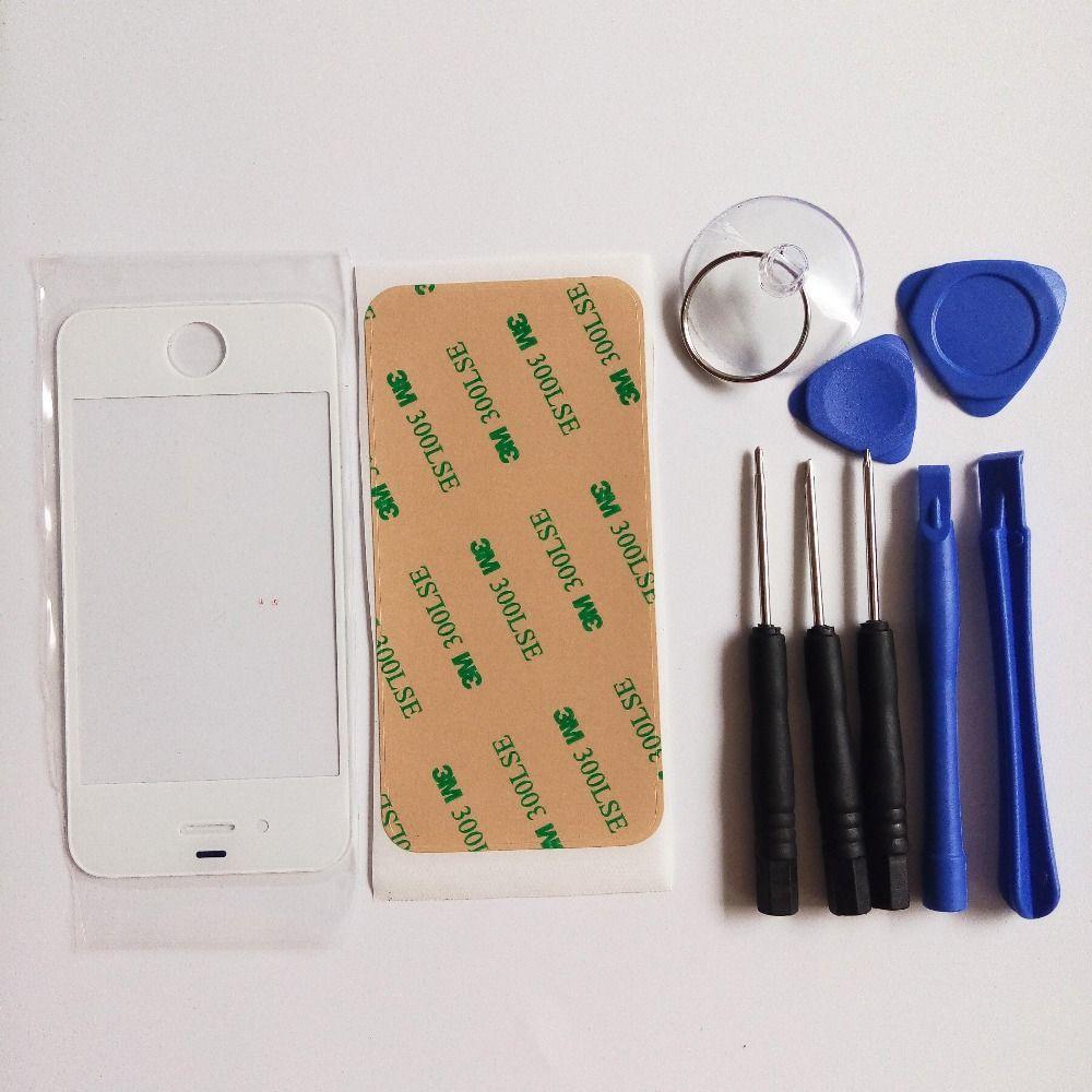 높은 품질 교체 전면 유리 터치 스크린 애플 아이폰 4 4 초 4 그램 외부 유리 화이트 & 접착제 및 무료 도구