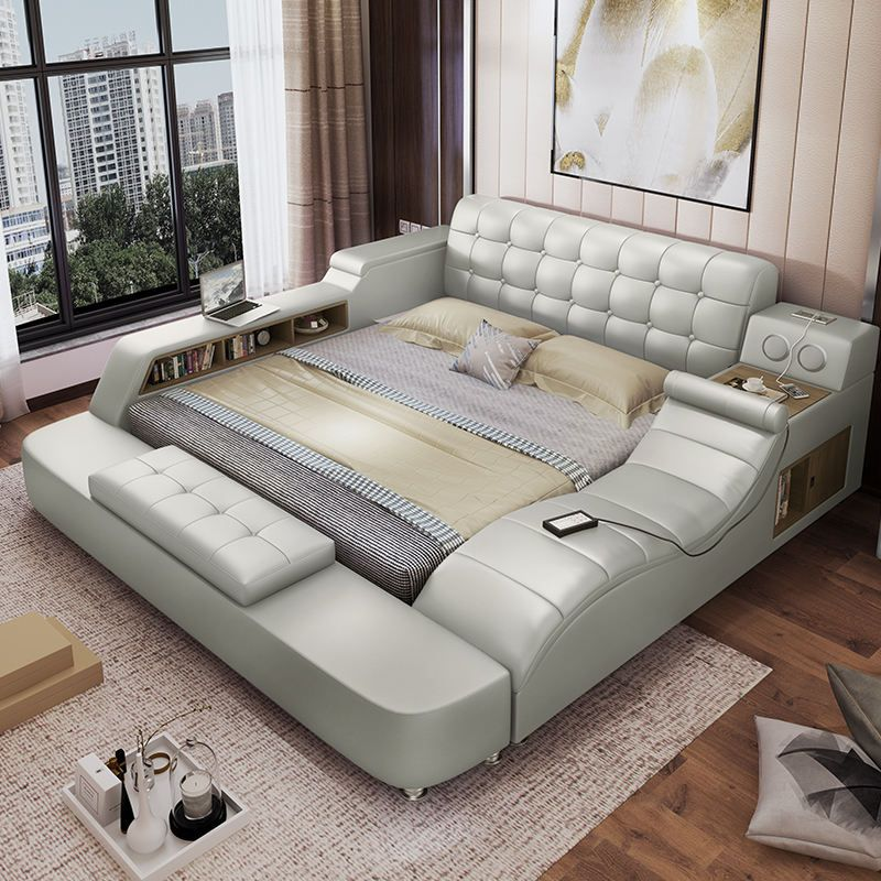Simple And Modern Master Bedroom Leather Bed Tatami Leather Bed