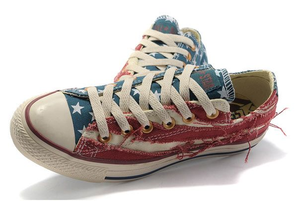ee24a6981494 Hotsale Converse American Flag All Star Low Tops Jeremy Shu-How Lin Ragged  Blue Red Canvas Shoes