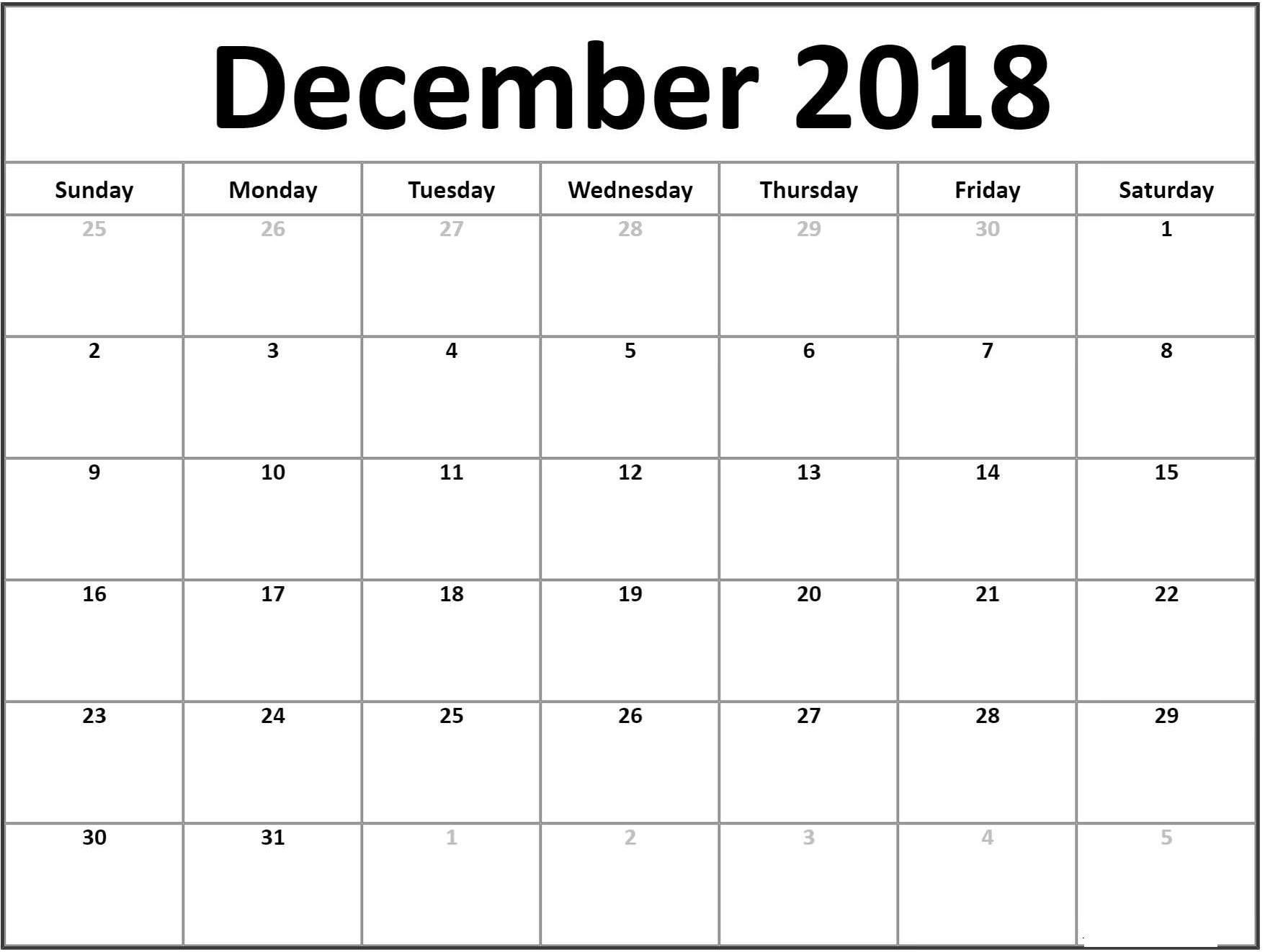 December Calendar 2018 Printable Pages Calendardecember2018