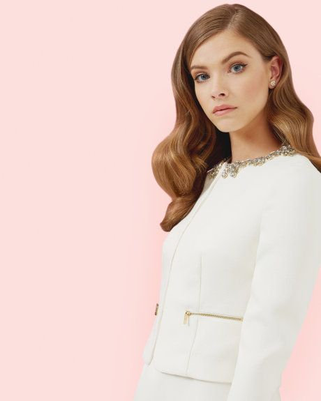 Embellished cropped jacket - Cream | Suits | Ted Baker