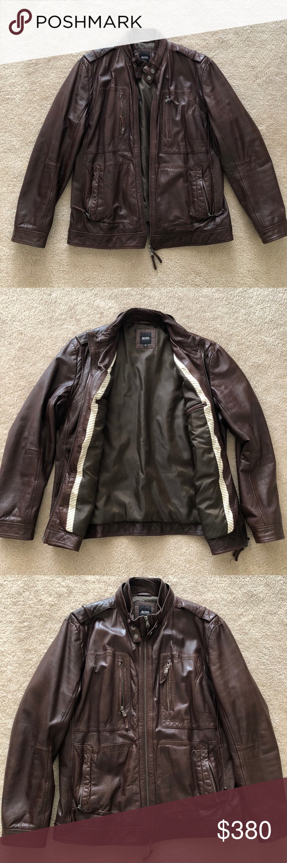 Hugo Boss Sheepskin Leather Motorcycle Jacket L Absolutely