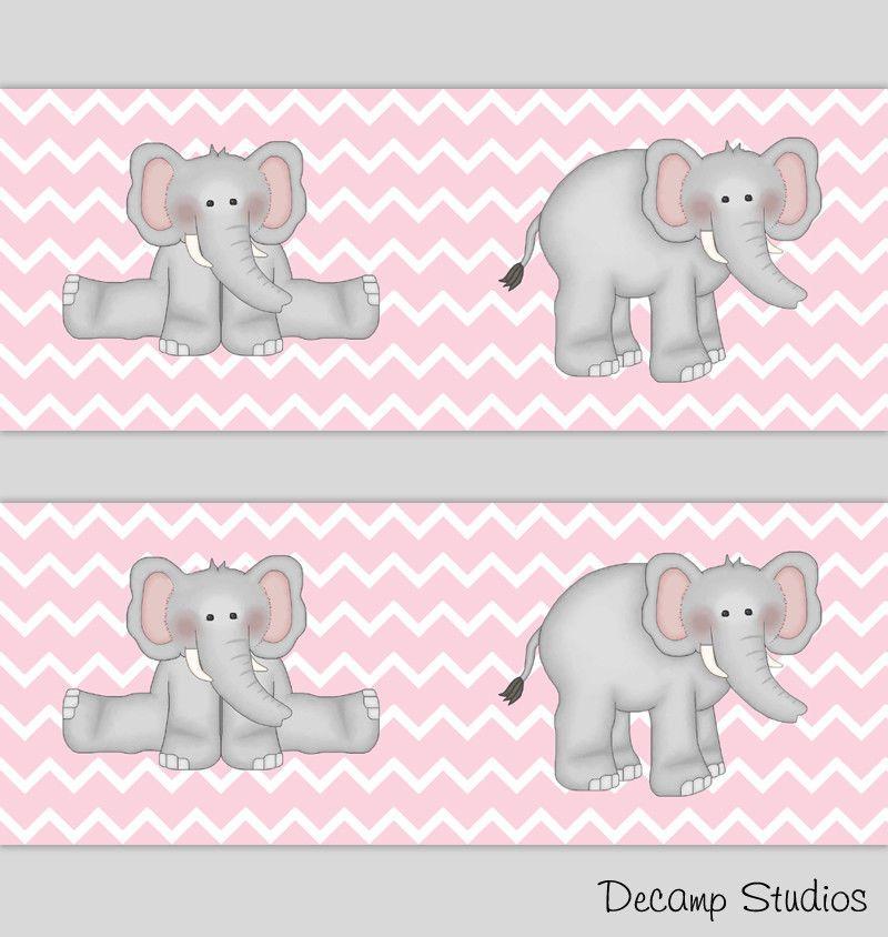 Elephant Chevron Girl Nursery Pink Gray Wallpaper Border Baby Wall