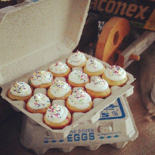 farmer's market party {egg crate mini cupcakes}