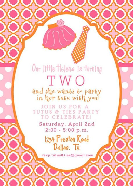 Tutus ties what a cute idea nanis 1st bday pinterest items similar to printable invitation design tutus and ties collection diy printables by the paper cupcake on etsy filmwisefo
