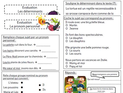 Evaluation Sur Le Pronom Personnel L Ecole De Crevette French Worksheets Book Worth Reading Evaluation