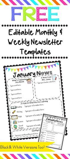 Free monthly newsletters templates 2018/2019 classroom by Gina
