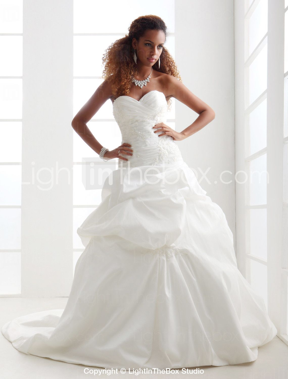 Lightinthebox wedding dresses  ALine Sweetheart Neckline Chapel Train Satin  Taffeta MadeTo