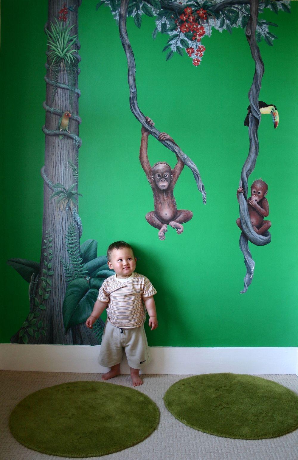monkeys in jungle wall mural nursery wall murals wall on wall murals id=74076