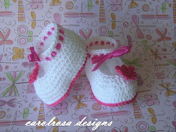 Crochet patrones bebé/niño botines zapatos BAUTIZO Bautismo | bebek ...