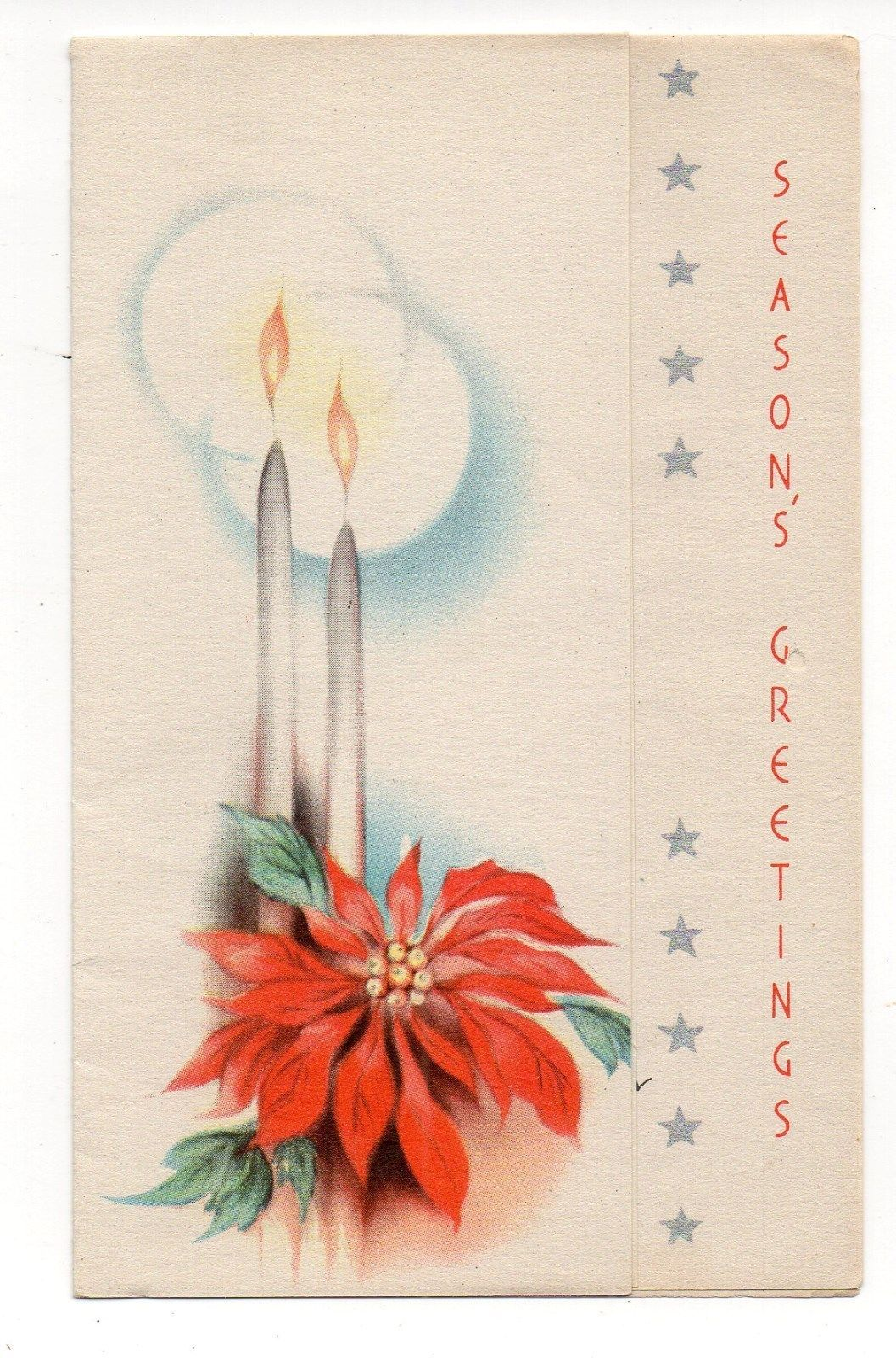 Vintage Christmas Greeting Card Burning Candles Poinsettia | eBay