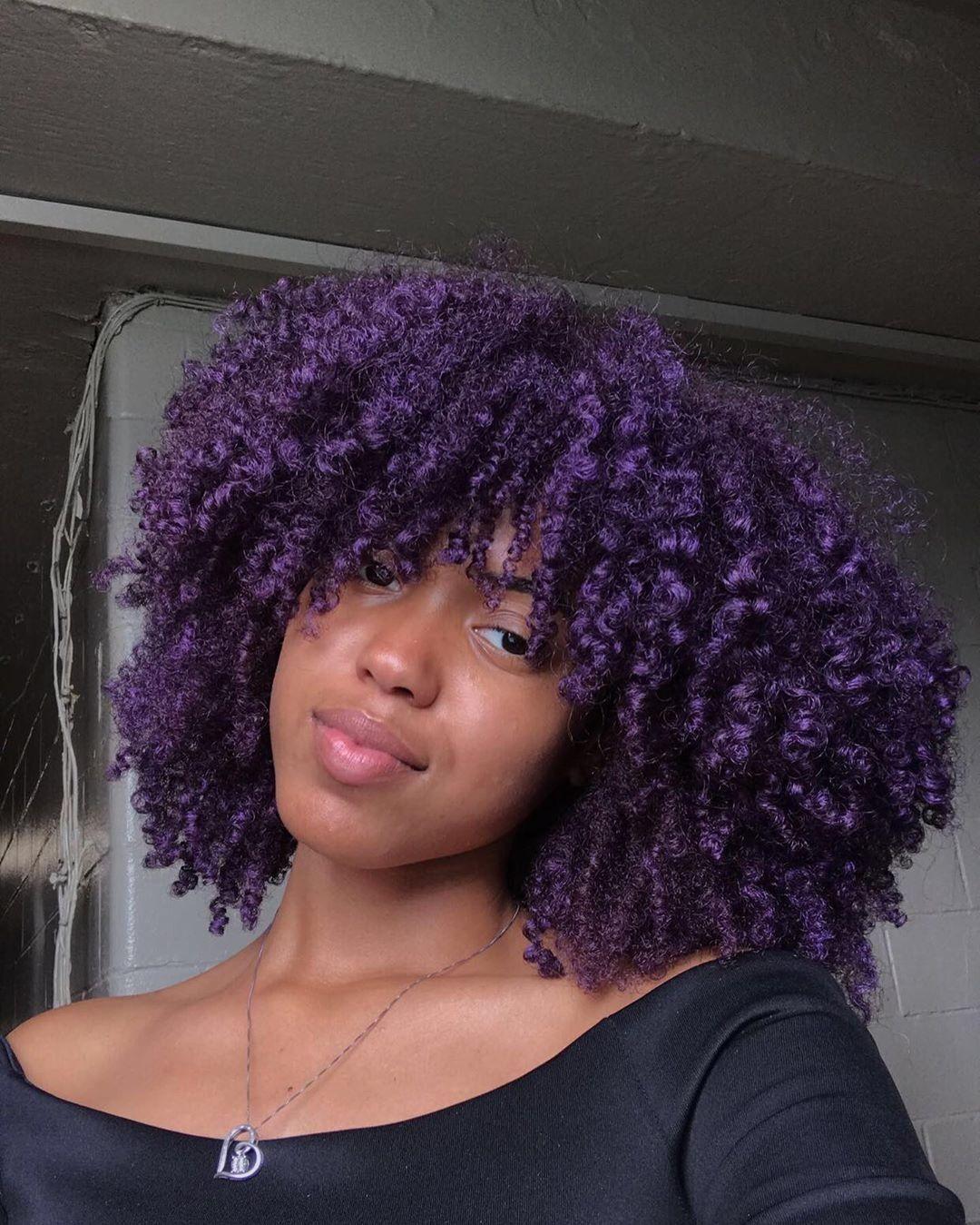 Purple Curls Purple Natural Hair Natural Hair Styles Natural Hair Color