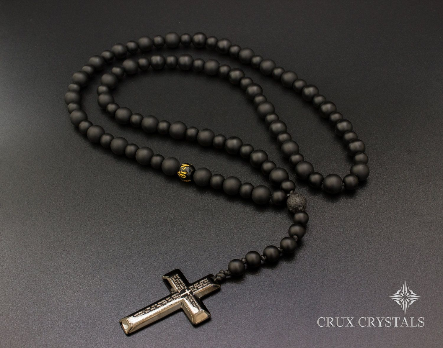 Men s Black Onyx Rosary Beaded Necklace features Cross Pendant with ... ed742428d5
