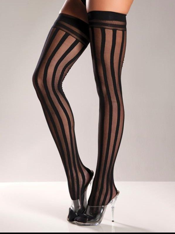 2b36d932ecb Sexy Black D vertical STRIPES striped NYLONS thigh HIGHS stockings PANTYHOSE   ElectricLingerie  ThighHighs  ebay