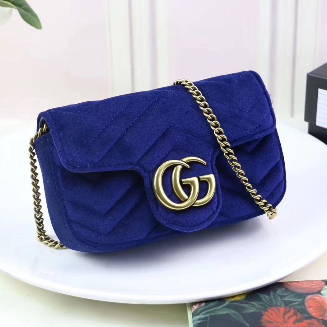 8cb206137bad Gucci GG Marmont Velvet Matelassé Chevron Super Mini Chain Shoulder Bag  476433 Royal Blue 2017
