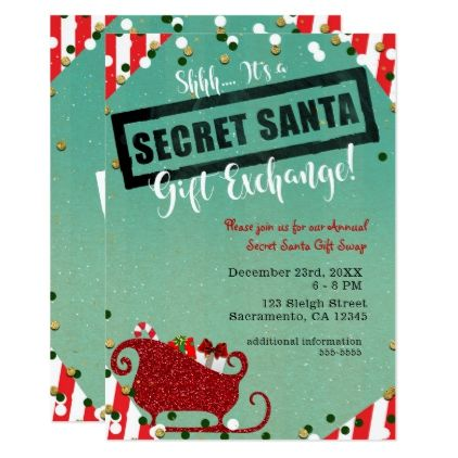 Secret santa gift exchange christmas holiday party invitation secret santa gift exchange christmas holiday party card christmas cards merry xmas diy cyo greetings m4hsunfo