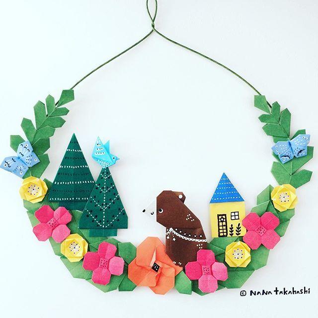 おはよう青いトリさん。 Good morning blue bird. ・ ・ #origami  #papercraft  #wreath #garland  #illustration #bear  #bluebird #butterfly #tree #flowergarden  #house  #おりがみ  #ペーパークラフト #リース #ガーランド #イラスト #くま  #森 #お花畑 #青い鳥 #ちょっと派手 #たかはしなな #nanatakahashi
