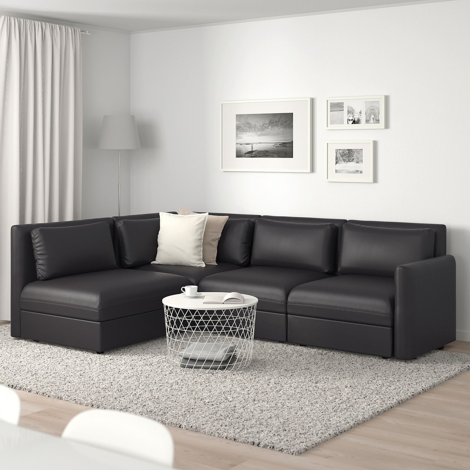 VALLENTUNA Modular corner sofa, 3seat, with storage/Black