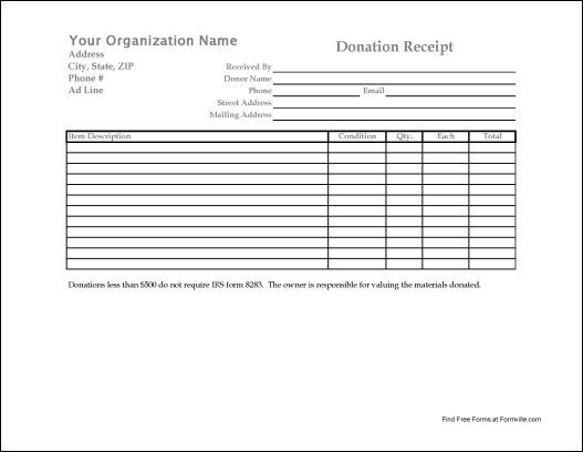 Free Donation Receipt  Of General Interest