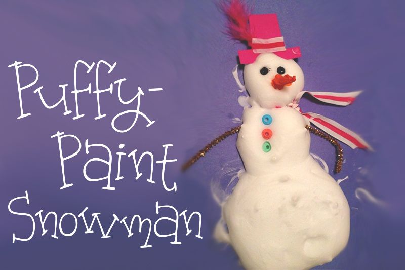 Homemade puffypaint snowman uses shaving cream and glue
