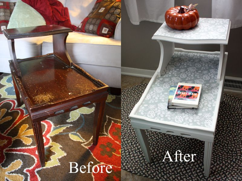 Refinished Two Tier End Table Before And After What To Do With My Rummage Sale Find Diy Furniture Restoration Furniture Diy Furniture