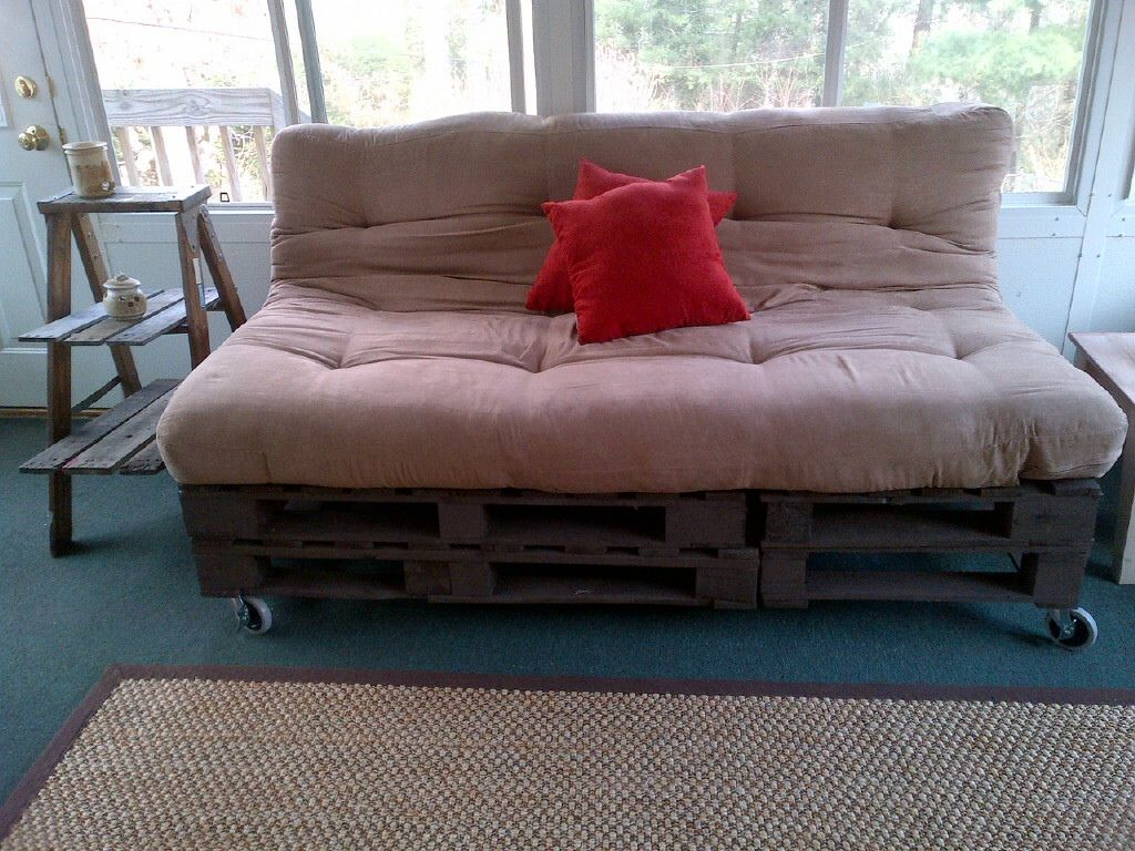 Pallet Couch With Futon Mattress Black And Tan