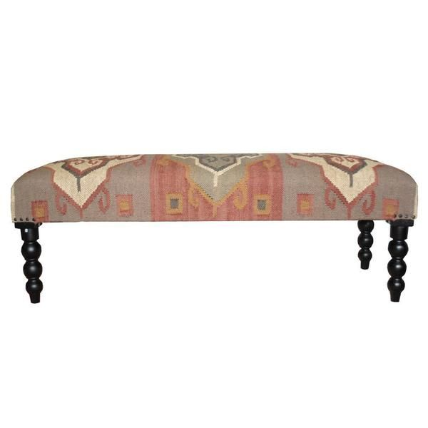 Herat Oriental Handmade Indo Kilim Beige/ Grey Upholstered Bench ...