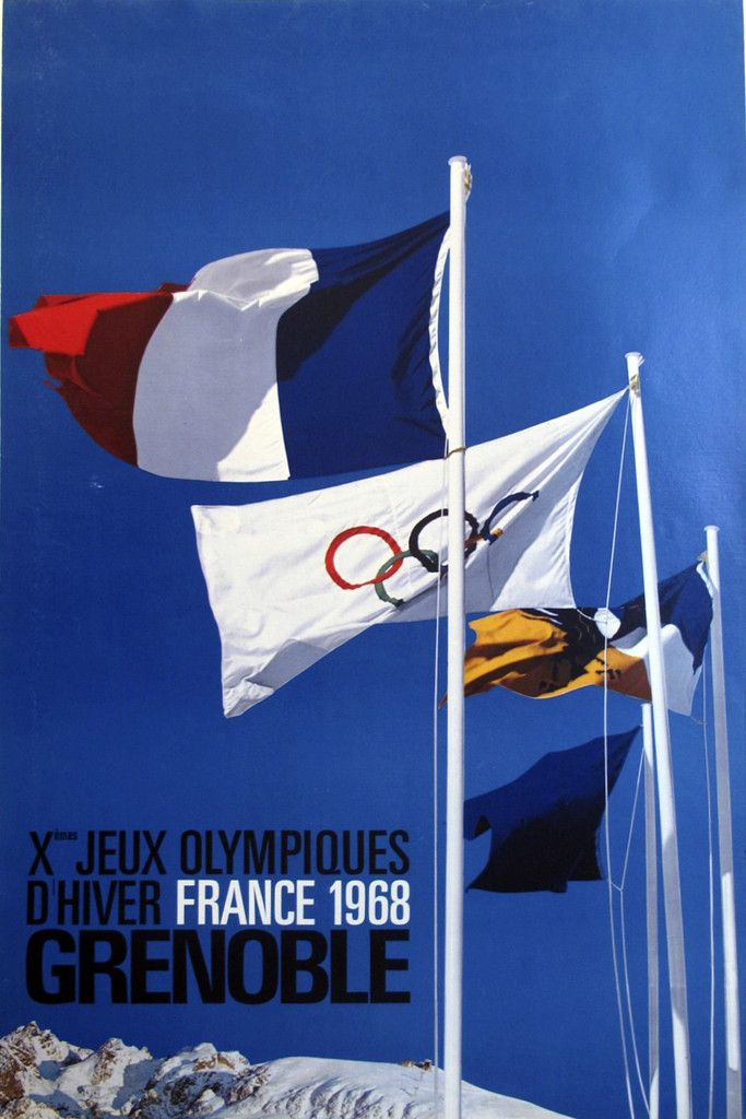 1968 Jeux Olympiques Grenoble Poster, Flags #1960-present #1968-olympics #france #grenoble #jeux-olympiques #olympic-games #olympics #poster #sports #vintage-poster