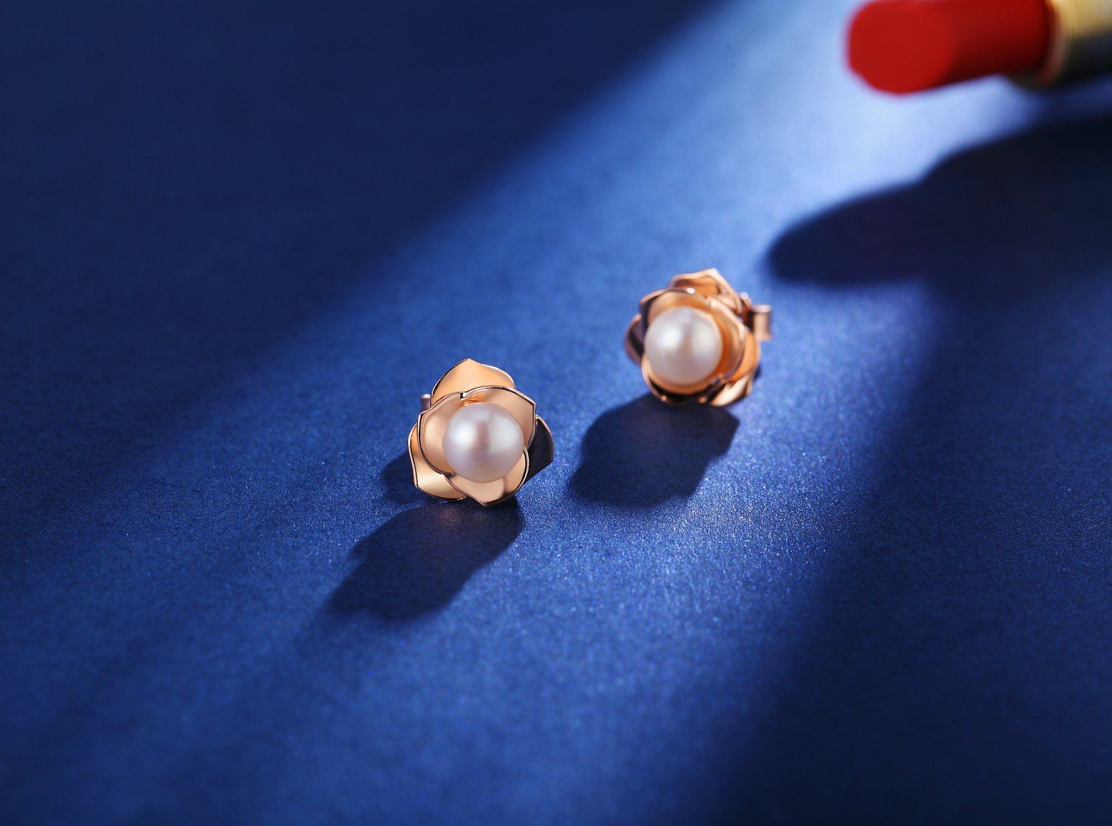 14k Rose Gold Plated Silver Rose Flower Ear Studs Freshwater Cultured Pearl Stud Earrings For Women Girls Stud Earrings Pearl Stud Earrings Rose Gold Plates
