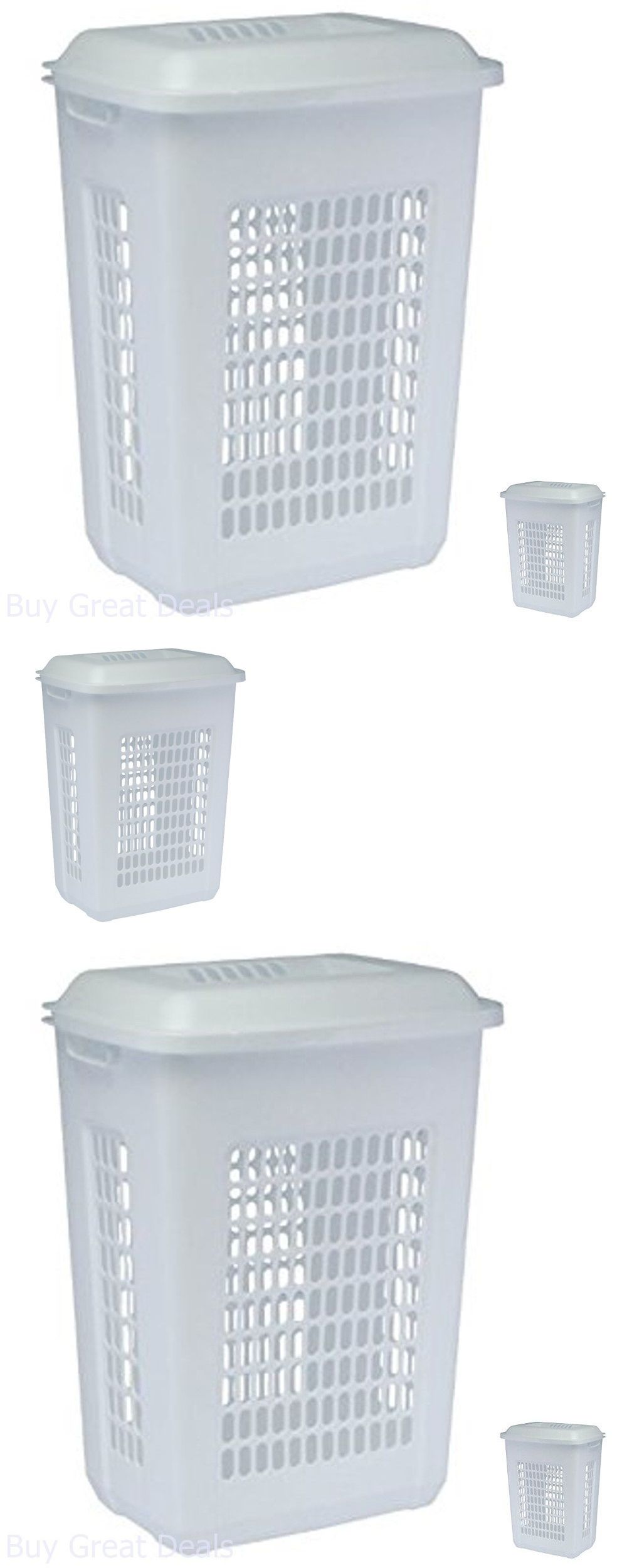 White tilt out clothes storage basket bin bathroom drawer ebay - Hampers 43517 Plastic Clothes Hamper Laundry Basket Lid White Bin Washing Storage Organizer
