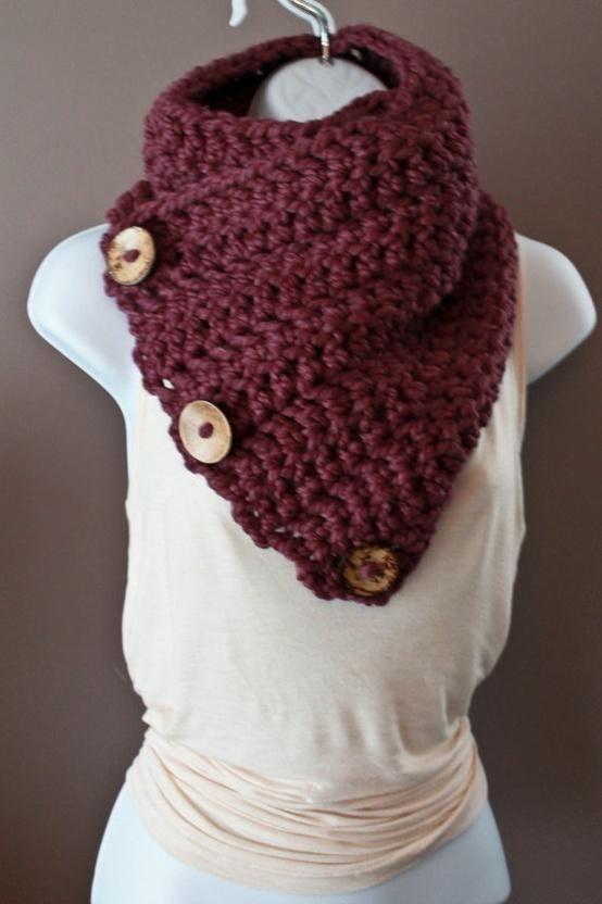 Coconut Button Crochet Cowl cuello al crochet con botones | de todo ...