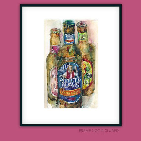 Sam Adams  Yuengling   Magic Hat   Watercolor Print by dfrdesign, $23.00