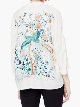 Shop White Phoenix And Floral Leaves Print 3/4 Sleeve Kimono from choies.com .Free shipping Worldwide.$21.99