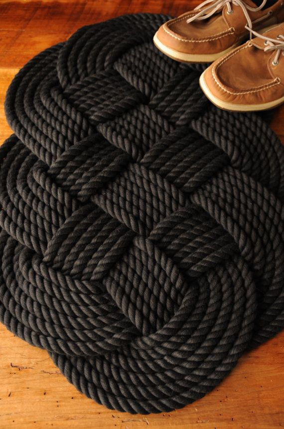 Handmade I Make These Rugs Using 1 2 Inch Diameter Black Cotton Rope They Are Beautiful And Soft On The Toes I Buy The With Images Rugs Rope Rug Nautical Rugs