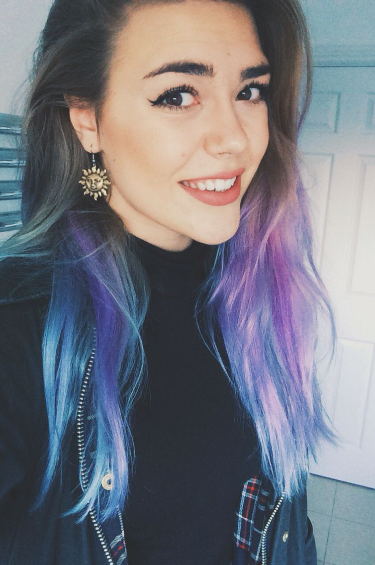 Mermaid hair dyed hair blue purple dip dye ombre u hair dye